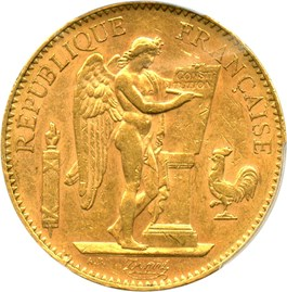 Image of France: 1907-A Gold 100 Franc PCGS AU55 (KM-858) .9334oz Gold