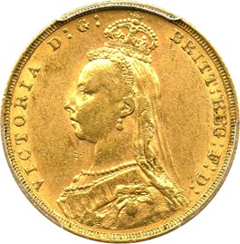 Image of Great Britain: 1889 Gold Sovereign PCGS AU55 (S-3866B, KM-767) .2355oz Gold