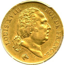 Image of France: 1818-W Gold 40 Franc PCGS XF45 (KM-713.6) .3734oz Gold