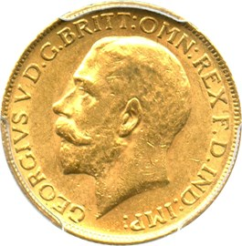 Image of Great Britain: 1913 Gold Sovereign PCGS AU58 (S-3996, KM-820) .2355oz Gold
