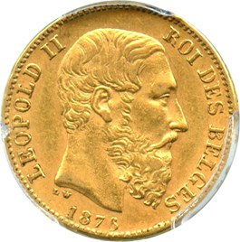 Image of Belgium: 1876 Gold 20 Franc PCGS AU58 (Position B, KM-37) .1867oz Gold