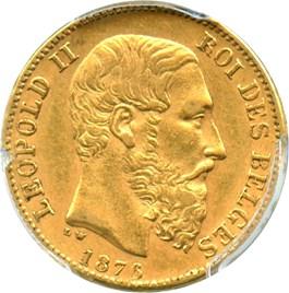 Image of Belgium: 1876 Gold 20 Franc PCGS AU58 (Position B, KM-37) .1867oz Gold