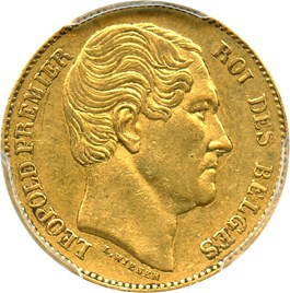 Image of Belgium: 1865 L Gold 20 Frank PCGS AU53 (KM-23) .1867oz Gold