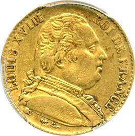 Image of France: 1814-A Louis XVIII Gold 20 Franc PCGS XF45 (KM-706.1) .1867oz Gold