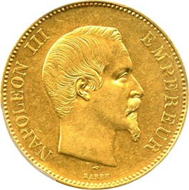 Image of France: 1856-A Gold 100 Franc PCGS AU55 (KM-786.1) .9334oz Gold