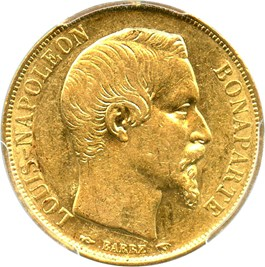 Image of France: 1852-A Gold 20 Franc PCGS AU55 (KM-774) .1867oz Gold