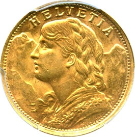 Image of Switzerland: 1935 LB Gold 20 Franc PCGS MS63 (KM-35.1) .1867oz Gold