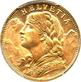 Image of Switzerland: 1947-B Gold 20 Franc PCGS MS64 (KM-35.2) .1867oz Gold