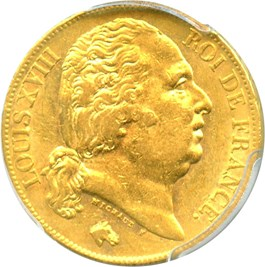 Image of France: 1818-W Gold 20 Franc PCGS AU58 (KM-712.9) .1867oz Gold