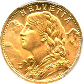 Image of Switzerland: 1947-B Gold 20 Franc PCGS MS66 (KM-35.2) .1867oz Gold