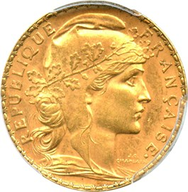 Image of France: 1910 Gold 20 Franc PCGS AU58 (KM-857) .1867oz Gold