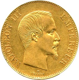 Image of France: 1858-A Gold 100 Franc PCGS AU53 (KM-786.1) .9334oz Gold