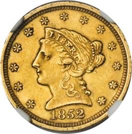 Image of 1852 $2 1/2 NGC/CAC AU58