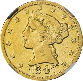 Image of 1847-D $5 NGC VF25