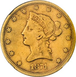 Image of 1874-S $10 NGC/CAC VF20