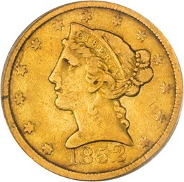Image of 1852-C $5 PCGS/CAC VF25