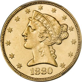 Image of 1880 $5 PCGS MS64