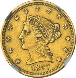 Image of 1857-O $2 1/2 NGC/CAC AU58