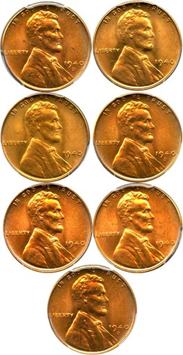 Image of Collector Lot of 1940-D 1c: All PCGS MS66 RD (7 Coins)