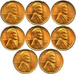 Image of Collector Lot of 1940 1c: All PCGS MS66 RD (8 Coins)