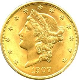 Image of 1907 Liberty $20 PCGS MS63 - No Reserve!