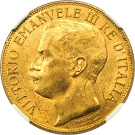 Image of Italy: 1911-R Gold 50 Lire NGC MS61 (50th Anniversary, KM-54) .4667oz Gold