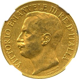 Image of Italy: 1911-R Gold 50 Lire NGC AU55 (50th Anniversary, KM-54) .4667oz Gold