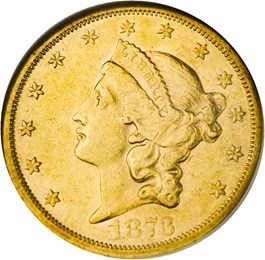 Image of 1873-S $20 NGC AU55 (Closed 3)