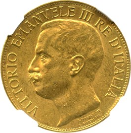 Image of Italy: 1911-R Gold 50 Lire NGC AU58 (50th Anniversary, KM-54) .4667oz Gold