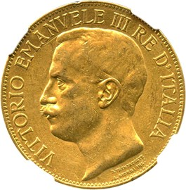 Image of Italy: 1911-R Gold 50 Lire NGC AU53 (50th Anniversary, KM-54) .4667oz Gold