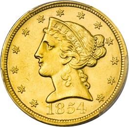 Image of 1854 $5 PCGS MS61