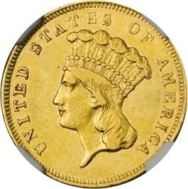 Image of 1857-S $3 NGC AU50