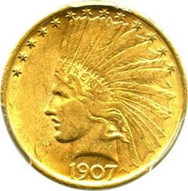 Image of 1907 $10 PCGS AU58 (No Motto)