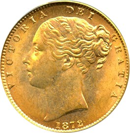 Image of Great Britain: 1872 Gold Sov PCGS MS63 (Shield Reverse, KM#736.1, 0.2354 oz gold)