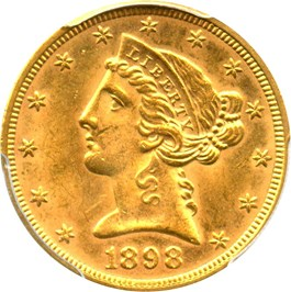 Image of 1898 $5 PCGS MS64