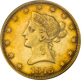 Image of 1843 $10 PCGS VF30 (OGH)