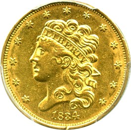 Image of 1834 Classic Head $5 PCGS Genuine AU Details (Scratch, Plain 4)