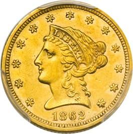 Image of 1862 $2 1/2 PCGS AU58