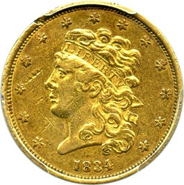 Image of 1834 Classic Head $5 PCGS Genuine AU Details (Rim Damage, Plain 4)