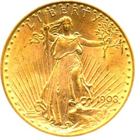 Image of 1908-D $20 PCGS MS65 (Motto)