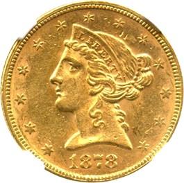 Image of 1878 $5 NGC AU58