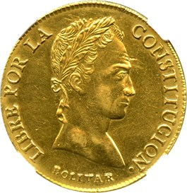 Image of Bolivia: 1846-PTS R Gold 8 Scudos NGC AU Details (Polished, KM-108.2) 0.875 oz gold