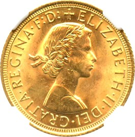 Image of Great Britain: 1962 Sovereign NGC MS64 (KM#908) 0.2354 oz Gold
