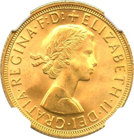 Image of Great Britain: 1958 Sovereign NGC MS66 (KM#908) 0.2354 oz Gold