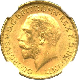 Image of Great Britain: 1915 Sovereign NGC MS63 (KM#820) 0.2354 oz Gold