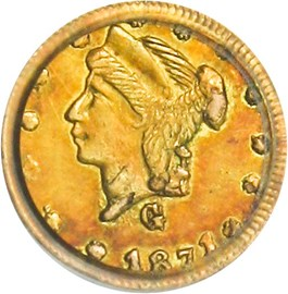 Image of California Fractional Gold 1871 25c PCGS AU58 (BG-838)