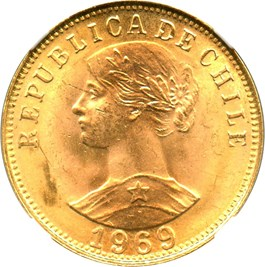 Image of Chile: 1969 Gold 50 Peso NGC MS65 (KM-169) 0.2943 oz Gold