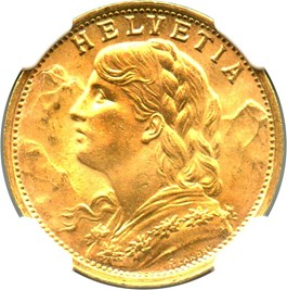 Image of Switzerland: 1935-LB Gold 20 Fr NGC MS65 (KM-35.1) 0.1867 oz Gold