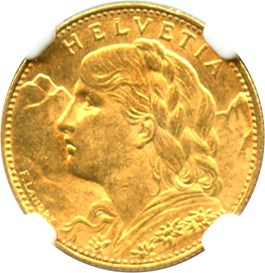 Image of Switzerland: 1915 B 10 Fr NGC MS61 (KM-36) 0.0933 oz Gold