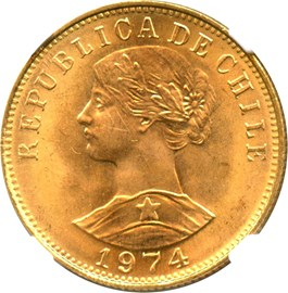 Image of Chile: 1974 Gold 50 Peso NGC MS65 (KM-169) 0.2943 oz Gold